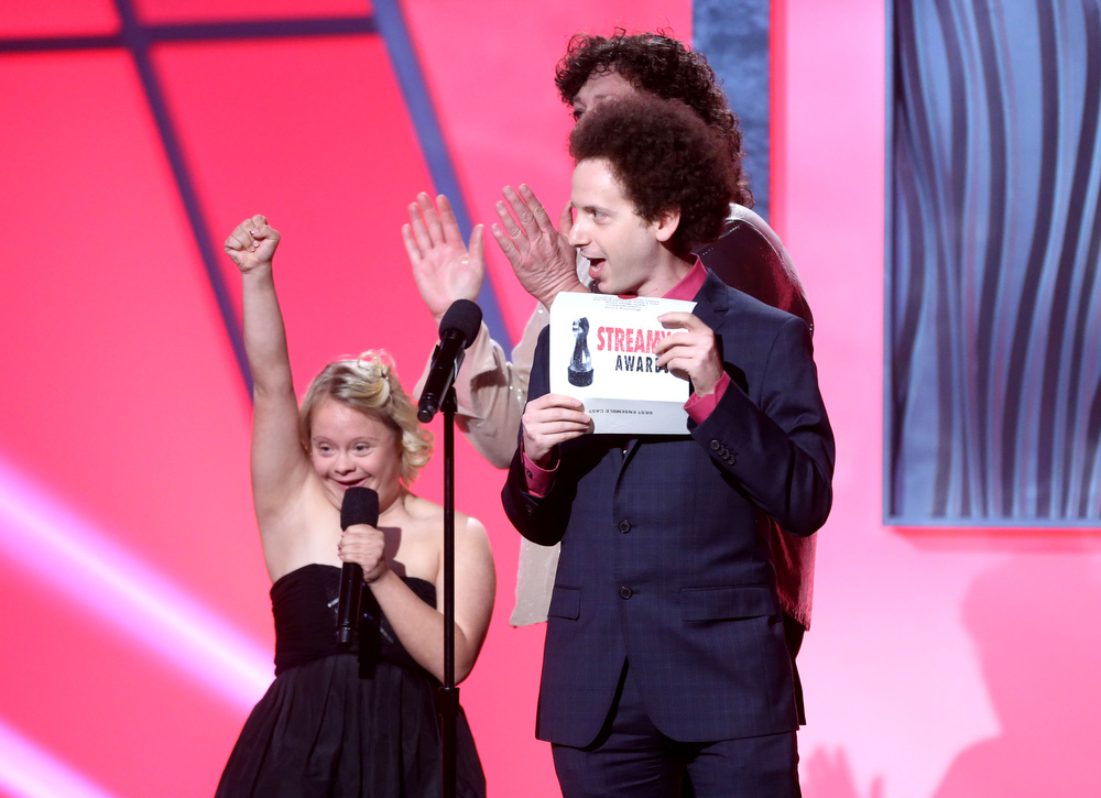 Description of . Presenters Dot Jones, Lauren Potter, and Josh Sussman speak onstage at the 3rd Annual Streamy Awards at Hollywood Palladium on February 17, 2013 in Hollywood, California.  (Photo by Frederick M. Brown/Getty Images)
