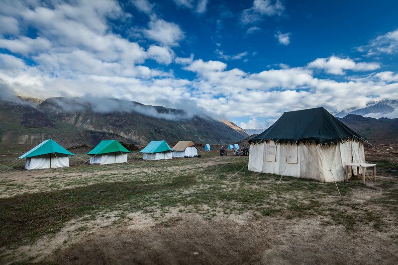 Tent camp in Himalayas. Spiti Valley, Himachal Pradesh, India