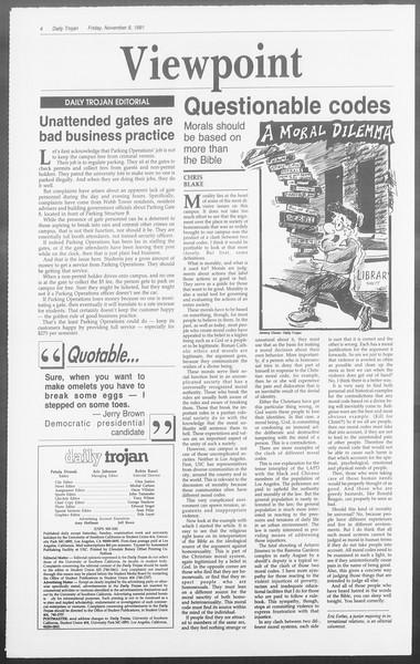 Daily Trojan, Vol. 116, No. 48, November 08, 1991
