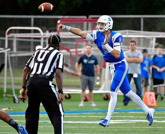 9/15/2018 Mike Orazzi | StaffrCCSU's Jacob Dolegala (9) during Saturdays' football game in New Britain. r