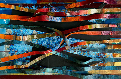 """""""Life is Flowing 1"""" (oil on canvas/silver/gold/copper leaf) by Miguel Barros"""