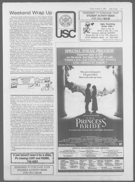 Daily Trojan, Vol. 105, No. 21, October 02, 1987