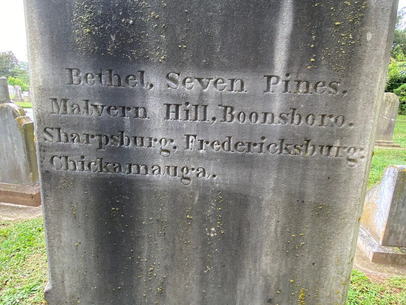 Inscribed on the back of the D. H. Hill grave marker. Note - marker was not touched when this photo was taken.