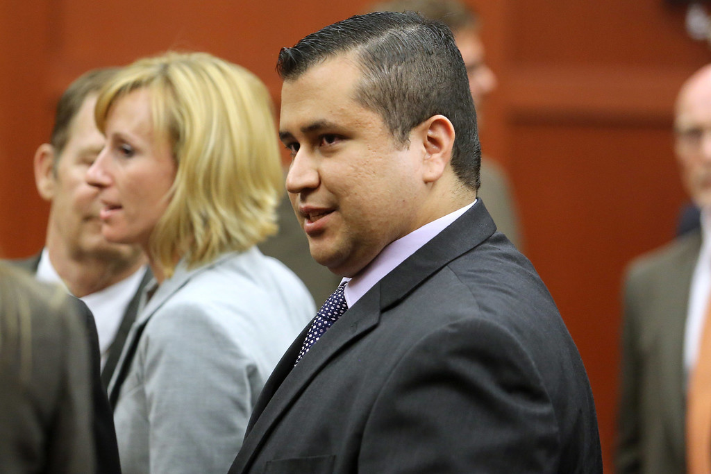 . SANFORD, FL - JULY 13:  George Zimmerman leaves the courtroom a free man after being found not guilty, on the 25th day of his trial at the Seminole County Criminal Justice Center July 13, 2013 in Sanford, Florida. Zimmerman was charged with second-degree murder in the 2012 shooting death of Trayvon Martin.  (Photo by Joe Burbank-Pool/Getty Images)