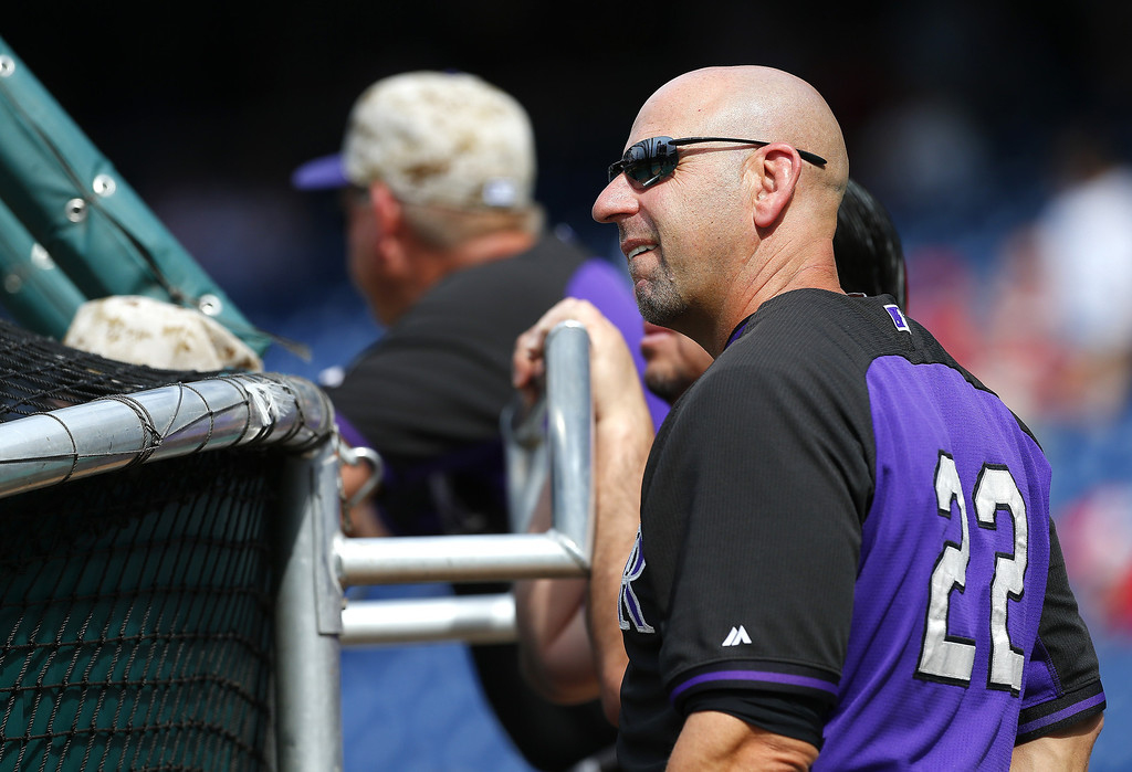. Manager Walt Weiss #22 of the Colorado Rockies looks on during batting practice before the start of their game against the Philadelphia Phillies at Citizens Bank Park on May 26, 2014 in Philadelphia, Pennsylvania. (Photo by Rich Schultz/Getty Images)