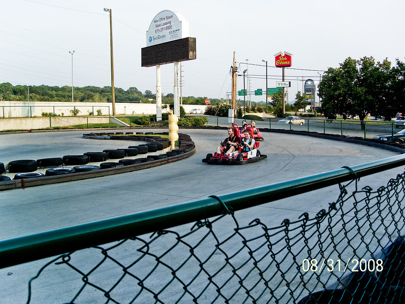 Taken by Joy.  Tim and Abigail on a go-kart.