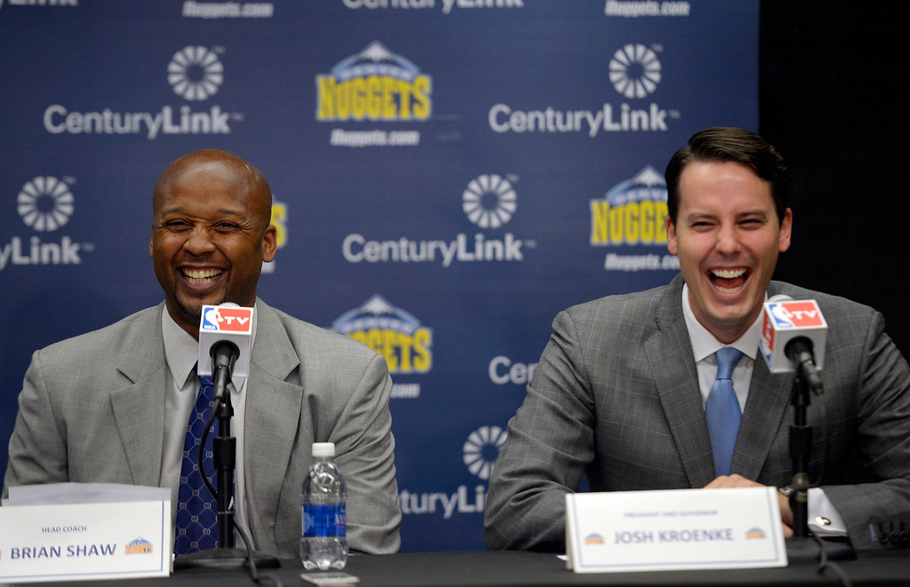 . The Denver Nuggets Executive VP of Basketball operations Tim Connelly and President Josh Kroenke introduces new head coach Brian Shaw June 25, 2013 during a press conference  at Pepsi Center. (Photo By John Leyba/The Denver Post)