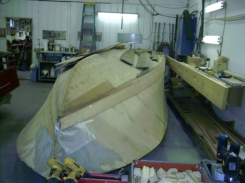 Front view of first starboard plank fit.