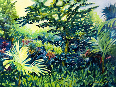 "©John Rachell Title:Garden Series, April 17, 2005 Image Size: 36""d X 48""w Dated: 2005 Medium & Support: Oil paint on canvas Signed: LR Signature"