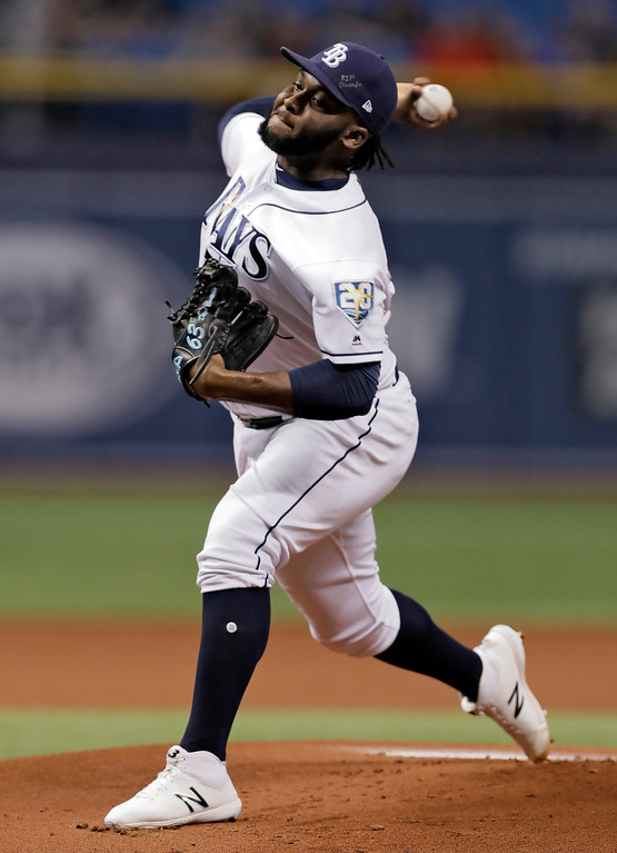 . Tampa Bay Rays\' Diego Castillo pitches to the Cleveland Indians during the first inning of a baseball game Monday, Sept. 10, 2018, in St. Petersburg, Fla. (AP Photo/Chris O\'Meara)