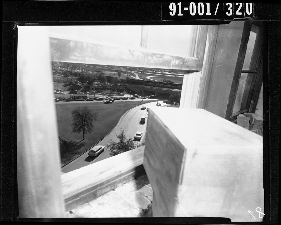 . Dallas police discover a sniper\'s nest constructed from book boxes around a sixth-floor floor window in the Texas School Book Depository. Dallas Police Department/Dallas Municipal Archives