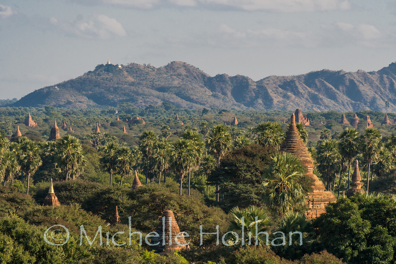 Looking South from Secret Pagoda over the many temples of Bagan, Myanmar