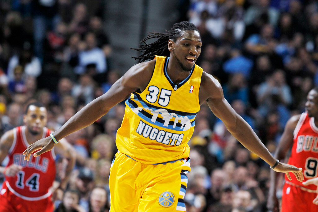 . Denver Nuggets forward Kenneth Faried celebrates after scoring a basket against the Chicago Bulls in the second quarter of an NBA basketball game in Denver on Thursday, Feb. 7, 2013. (AP Photo/David Zalubowski)