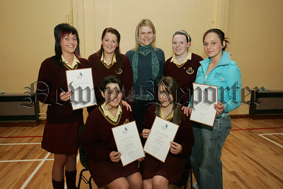 Pictured with their Teacher Sandra McConnell are pupils from St Mary's High School, Anne McCaul, Michelle Rice, Siobhan Kinney, Aine Larkin, Tracey Coyle and Emma McQuaid who have recieved the Bronze Presidents Award. 07W13N2