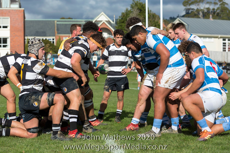 Images taken on 11 July 2020 at the Rugby match between St Patrick's College Silverstream (Blue) and New Plymouth Boys High School (Black) held at St Patrick's College Silverstream , Heretaunga, Wellington, New Zealand.   Final Score: Stream 31 NPBHS 32