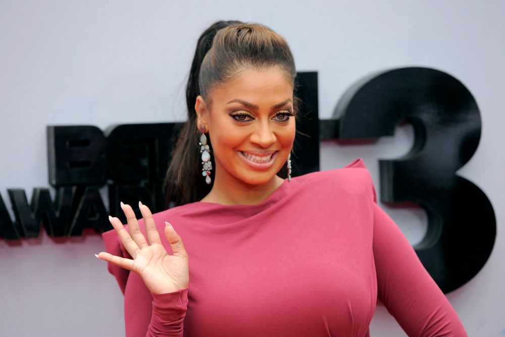 Description of . La La Anthony arrives at the BET Awards at the Nokia Theatre on Sunday, June 30, 2013, in Los Angeles. (Photo by Chris Pizzello/Invision/AP)