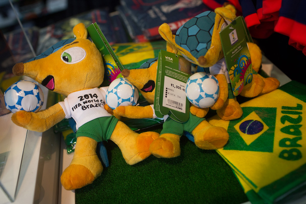 . FIFA World Cup 2014 merchandise is seen on display at a football store on June 11, 2014 in Tokyo, Japan. The World Cup  2014 in Brazil will begin on June 12th with the first match between Brazil and Croatia.  (Photo by Chris McGrath/Getty Images)