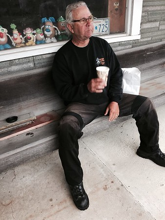 Bobby takes a coffee and cookie break in Buena Vista, VA.
