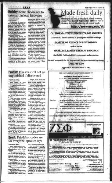 Daily Trojan, Vol. 148, No. 14, February 04, 2003