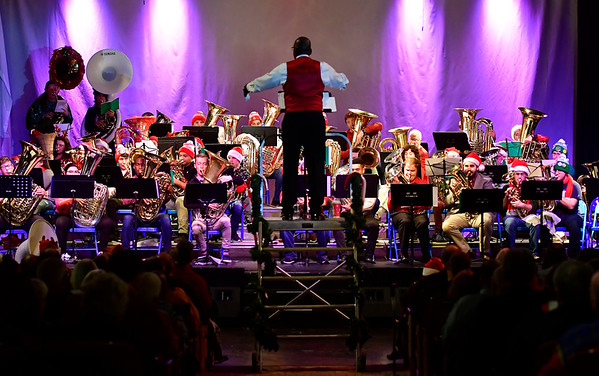 12/14/2019 Mike Orazzi | Staff Walter Gibson while conducting the annual TubaChristmas concert held at Trinity-on-Main in downtown New Britain on Saturday.