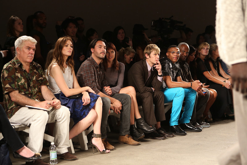 NEW YORK, NY - SEPTEMBER 07:  (L-R) Editor-at-large of Style.com Tim Blanks, actress / singer Mandy Moore, actor Jack Huston, model Shannan Click, actor Gabriel Mann NBA athlete Russell Westbrook and agent Thad Foucher attend Billy Reid's spring 2013 fashion show during Mercedes-Benz Fashion Week at Eyebeam on September 7, 2012 in New York City.  (Photo by Chelsea Lauren/Getty Images)