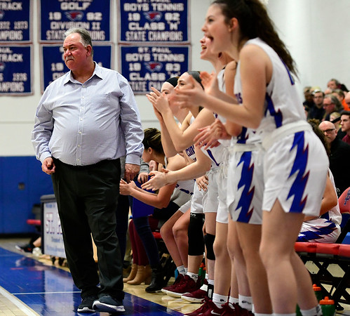 3/5/2019 Mike Orazzi | Staff St. Paul Catholic High School's Joe Mone during the Class S Quarterfinals Girls Basketball Game with Bloomfield Tuesday night.