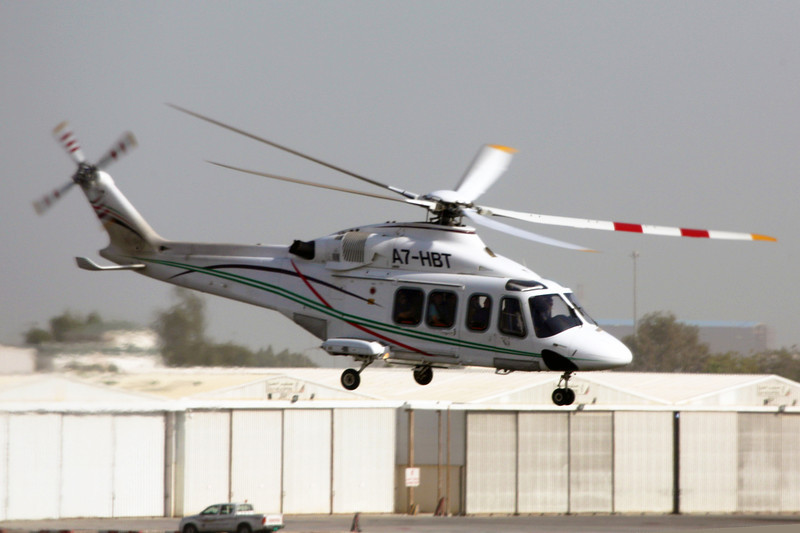 Helicopter taking off at the Qatar Airport
