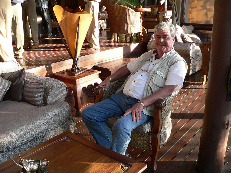 Greg relaxing in the open sided lounge at Migration Camp on his 60th birthday.