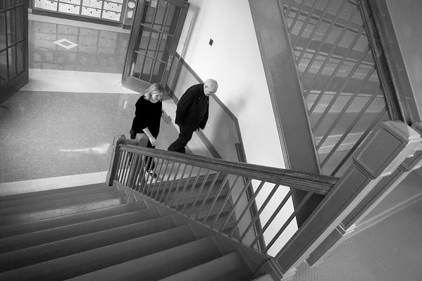 02/03/20 Wesley Bunnell | StaffrrSacred Heart School which is the last Catholic school left in New Britain is facing possible closure due to low enrollment. The school is one year shy of its 125th anniversary. Principal Kathleen Muller walks down a staircase with Monsignor Daniel J. Plocharczyk, Pastor of Sacred Heart Church during a tour of the school on October 17, 2019.