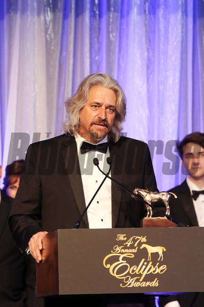 Gun Runner represented by owner Ron Winchell, Trainer Steve Asmussen and Owner Goncalo Torrealba of Three Chimneys wins horse of the Year for 2017 at the Eclipse Awards at Gulfstream Park