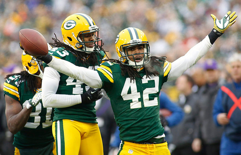 . Green Bay Packers safety Morgan Burnett reacts after getting an interception against the Minnesota Vikings during their second half of a NFL football game in Green Bay, Wisconsin December 2, 2012. Packers defeated the Vikings 23-14. REUTERS/Darren Hauck