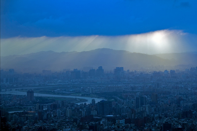 Beautiful blue light over Taipei skyline at Sunset - Taipei, Taiwan