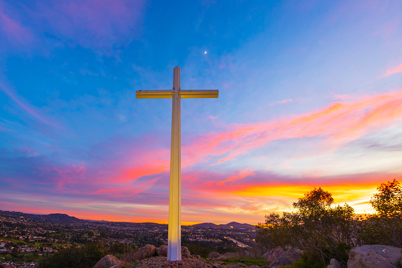 Cross and Colorful Clouds.
