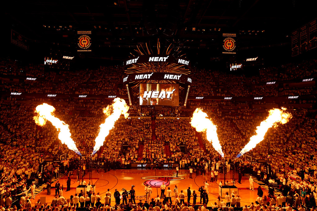 . The Miami Heat are introduced prior to Game Four of the Eastern Conference Finals of the 2014 NBA Playoffs against the Indiana Pacers at American Airlines Arena on May 26, 2014 in Miami, Florida.  (Photo by Alex Trautwig/Getty Images)