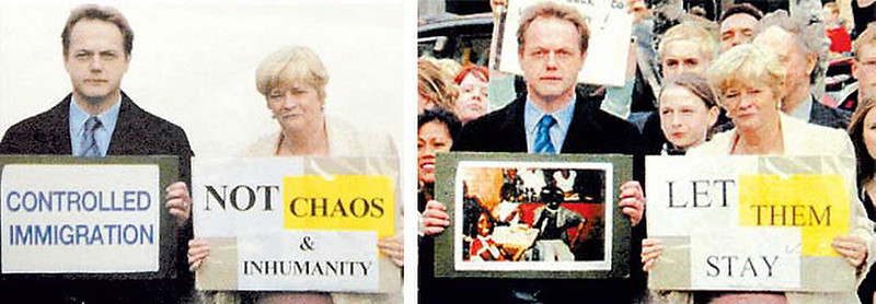 """. April 2005:  In this doctored photograph, British politicians Ed Matts, conservative candidate for Dorset South, and Ann Widdecombe, conservative candidate for Maidstone and the Weald, are shown holding a pair of signs that together read \""""controlled immigration -- not chaos and inhumanity\"""". This picture appeared as part of Matts\' election literature. The original photograph, however, shows the same two candidates campaigning for a Malawian family of asylum seekers to be allowed to stay in Britain. Widdecombe said she was \""""happy to be associated with either message\"""".   SOURCE: http://www.cs.dartmouth.edu/farid/research/digitaltampering/"""