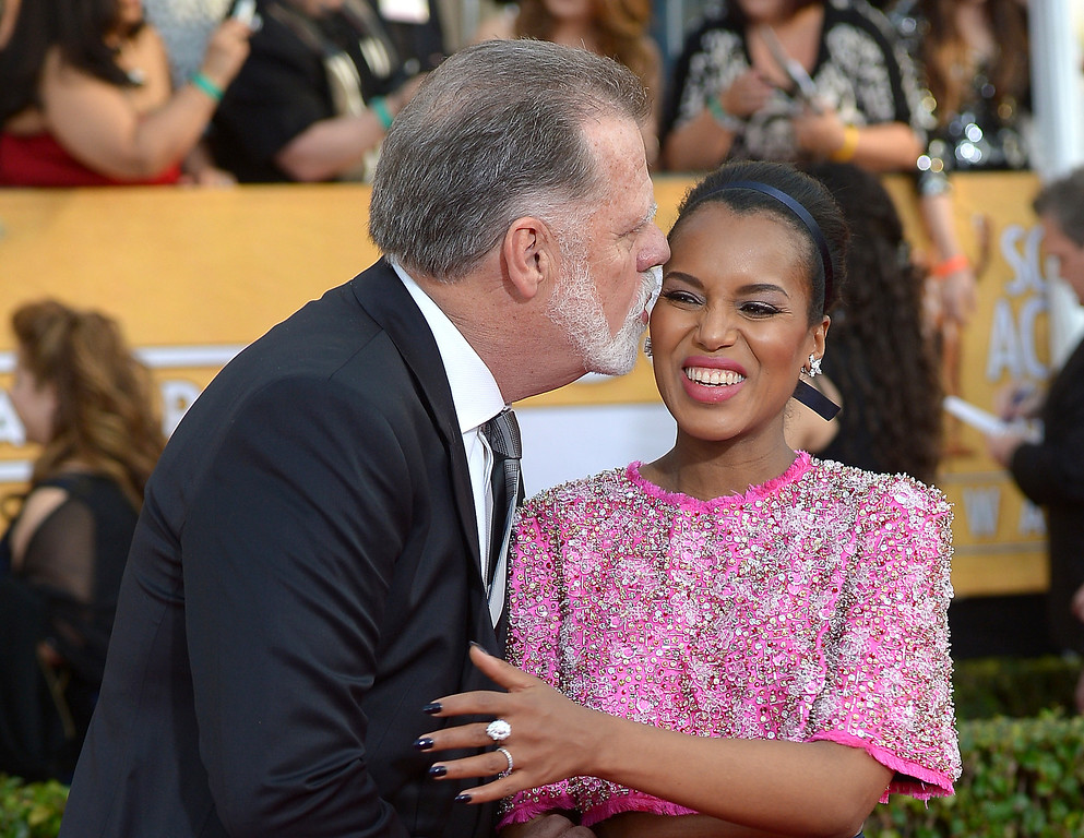 . Taylor Hackford and Kerry Washington arrives at the 20th Annual Screen Actors Guild Awards  at the Shrine Auditorium in Los Angeles, California on Saturday January 18, 2014 (Photo by Michael Owen Baker / Los Angeles Daily News)