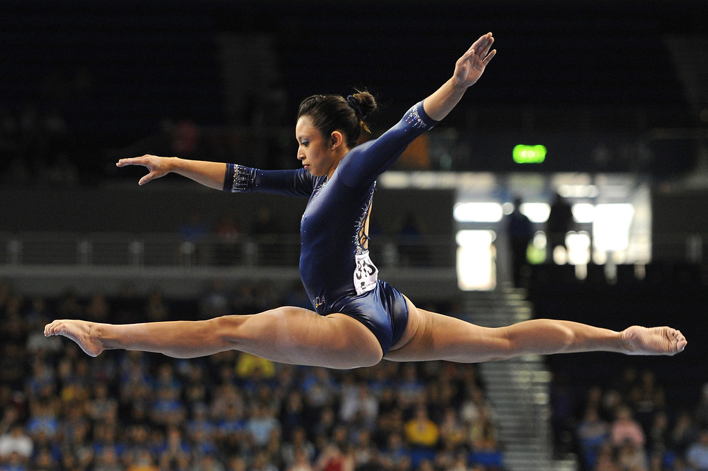 . UCLA\'s Vanessa Zamarripa competes on the balance beam at the NCAA Women\'s Gymnastics Championship Team Finals at Pauley Pavilion, Saturday, April 20, 2013. (Michael Owen Baker/Staff Photographer)