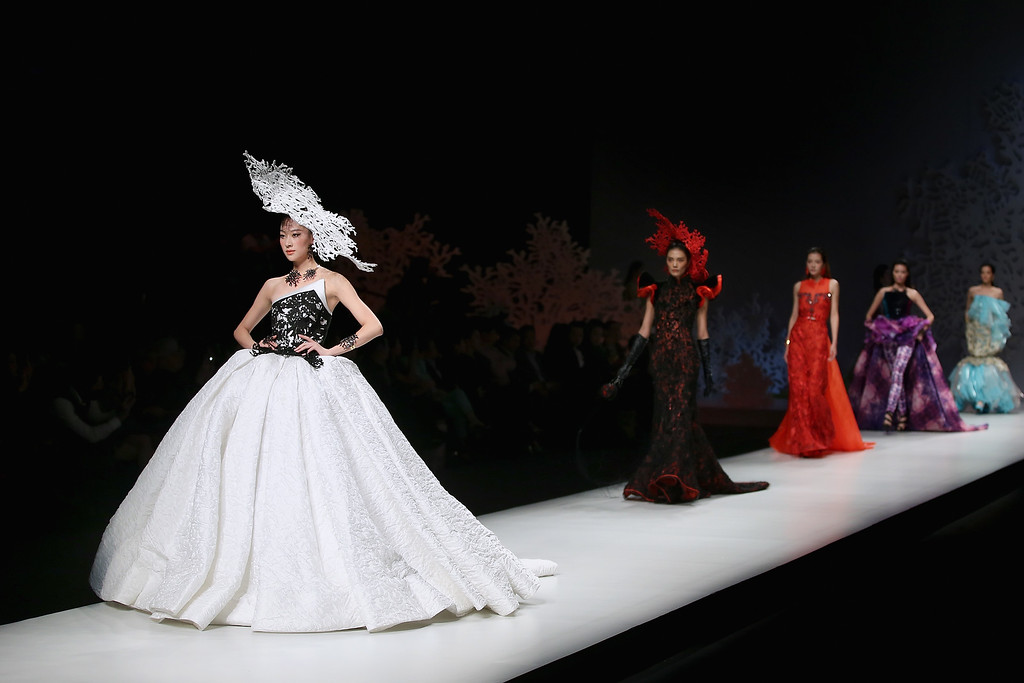 . Models showcase designs on the runway at SEC Qi Gang Collection show during Mercedes-Benz China Fashion Week Spring/Summer 2015 at Beijing Hotel on October 29, 2014 in Beijing, China.  (Photo by Feng Li/Getty Images)