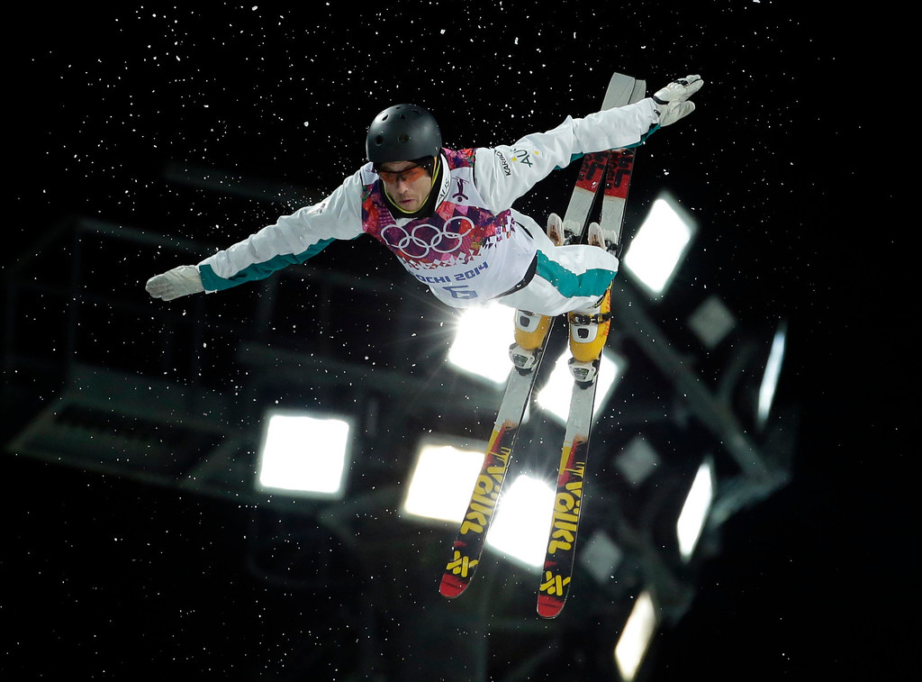 . Australia\'s David Morris jumps during the men\'s freestyle skiing aerials final at the Rosa Khutor Extreme Park, at the 2014 Winter Olympics, Monday, Feb. 17, 2014, in Krasnaya Polyana, Russia. (AP Photo/Andy Wong)