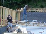 08 08-23 Konnarock, VA - Floor construction started for Pennington house. wb