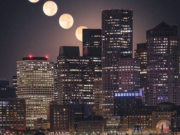 Harvest Moon over Downtown Boston