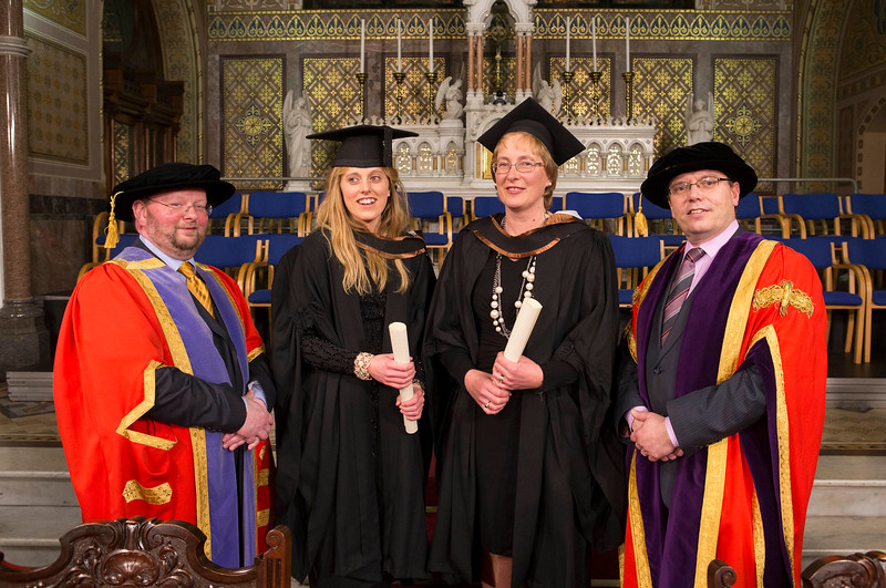 Waterford Institute Of Technology Conferring. Pictured at WIT Waterford Institute Of Technology Conferring is Aoife and Claire Trihy,  Waterford  who graduated Bachelor of Business (Honours), also pictured are Dr. Derek O'Byrne. Registrar WIT,David and Dr. Ruaidhrí Neavyn, President WIT. Picture: Patrick Browne