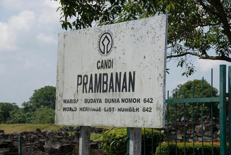 UNESCO World Heritage Site sign outside Prambanan in Java, Indonesia