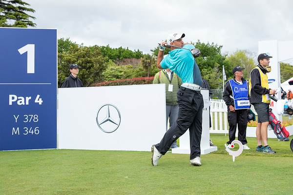William Howard from Cook islands hitting off the 1st tee on Day 1 of competition in the Asia-Pacific Amateur Championship tournament 2017 held at Royal Wellington Golf Club, in Heretaunga, Upper Hutt, New Zealand from 26 - 29 October 2017. Copyright John Mathews 2017.   www.megasportmedia.co.nz