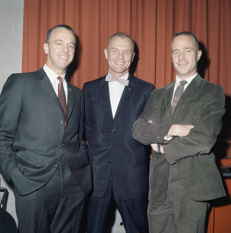 . Scott Carpenter with other astronauts Alan Shepard, and John Glenn, at Langley Field Va. on Jan. 11, 1961. (AP Photo)