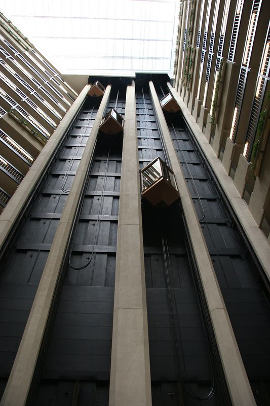 Elevators in the Hyatt Regency Hotel