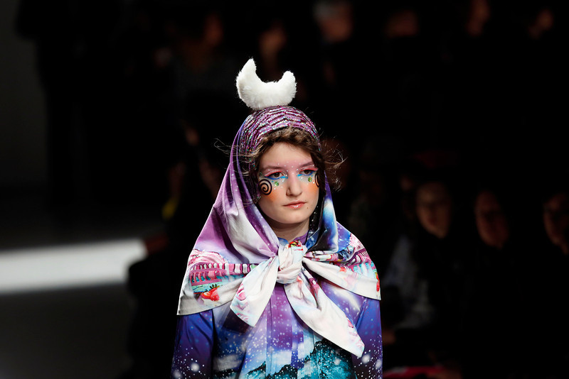 . A model wears a creation for Manish Arora\'s ready-to-wear fall/winter 2014-2015 fashion collection presented in Paris, Thursday, Feb.27, 2014. (AP Photo/Jerome Delay)