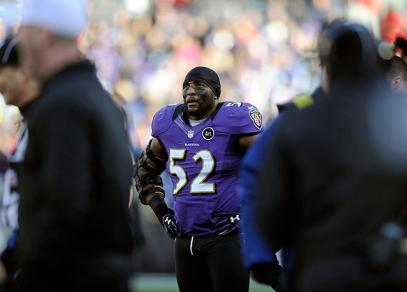 . Baltimore Ravens inside linebacker Ray Lewis (52) pauses on the sidelines during the first half of an NFL wild card playoff football game against the Indianapolis Colts Sunday, Jan. 6, 2013, in Baltimore. (AP Photo/Nick Wass)