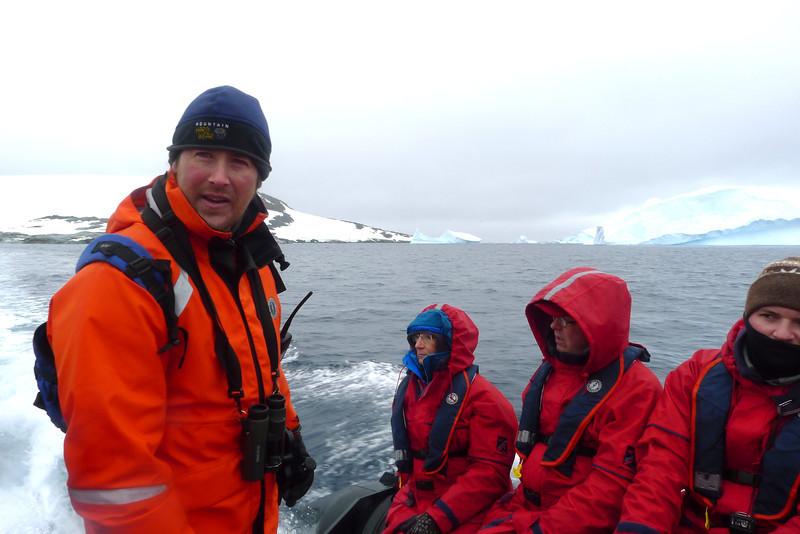Antarctica - Jan 2013 - Sergey Vavilov Circle Trip, The One Ocean Expedition staff:  Ken Wright (naturalist) running a Zodiac.