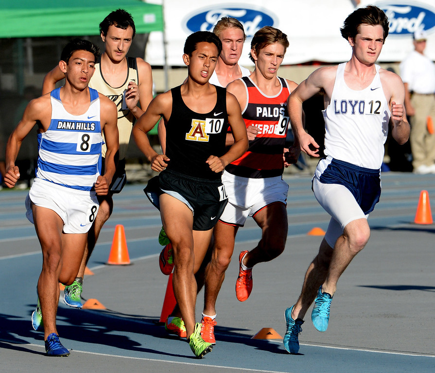 . Arcadia\'s Phillip Rocha (10) competes in the 1600 meter run during the CIF-SS Masters Track and Field meet at Falcon Field on the campus of Cerritos College in Norwalk, Calif., on Friday, May 30, 2014.   (Keith Birmingham/Pasadena Star-News)